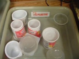 Here, students are shown what plastics #5 and 6 are and are taught how to identify them, so they don't go into the normal recycling container!