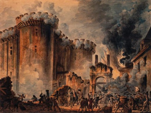 The insurgents storm the Bastille, June, 1789, killing and injuring nearly two-hundred of the King's men ~ confiscating weapons and ammunition and winning a decisive advantage for the new republic.