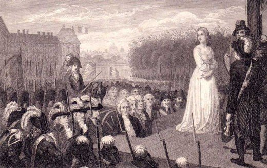 Looking up to the heavens. The execution by guillotine of Marie Antionette, October 16, 1793. For her noble suffering, she entered the realm of legend.