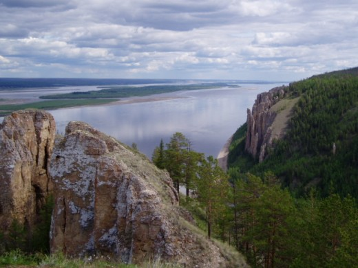 Lena River with view of the Lone Maiden formation, located outside of Yakutsk
