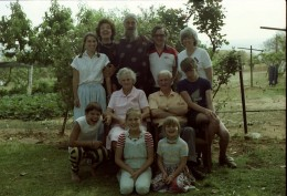 Our mother and father in the centre, on the occasion of their 50th wedding anniversary, 1985. Chris in the middle at the back,