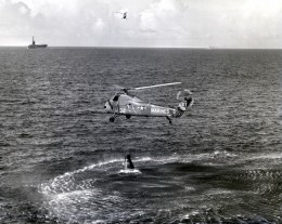 The attempted recovery of Liberty Bell 7. The carrier USS Randolph is seen in the distance. Photo courtesy of NASA.