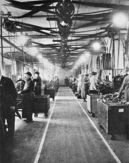 This early mass production assembly line allowed for the production of surplus value that could be used as commodities or for accumulating a surplus of munitions for war.