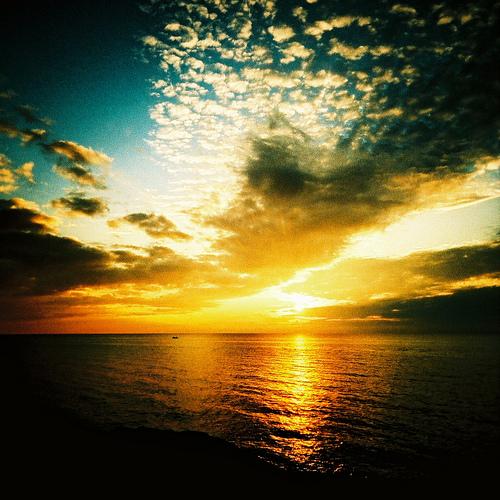 Beautiful sunset in Lake Michigan