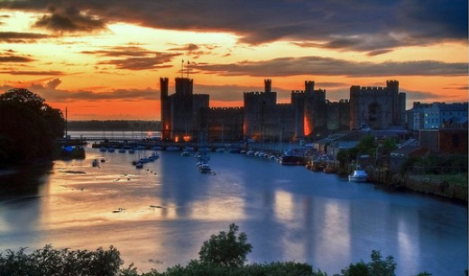 Lovely sunset picture of Caernarfon Castle in Wales.