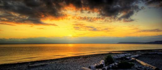 Beautiful beach sunset picture
