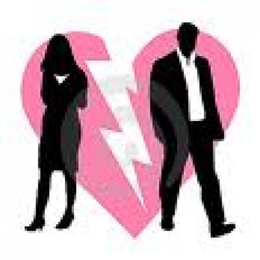 Broken hearts; broken dreams  source:www.dreamstime.com/divorce-broken-couple-back...