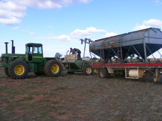 Some of the gear - loading the airseeder from the grouper - wheat sowing