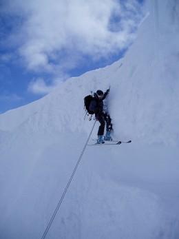 A climber abseiling