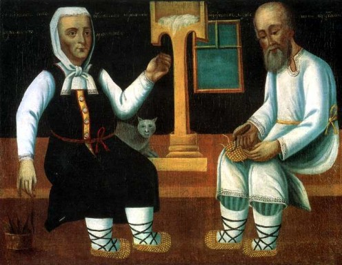A Muzhik Botching the Bast Shoes, an Old Woman Spinning Thread. Artist unknown.