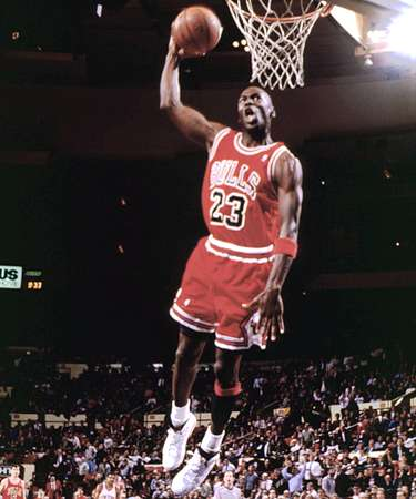 Micheal Jordan dunks it down!