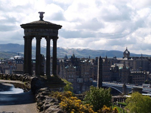 A beautiful view of the city from the top of Calton Hill.