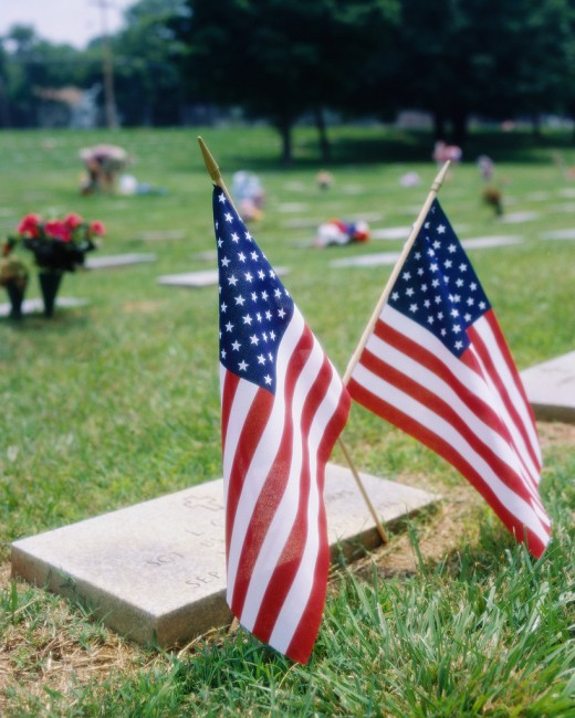 a decorated cemetery on Memorial Day