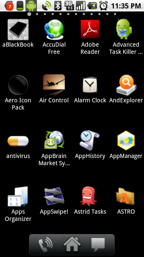 "ADW.Launcher's app drawer: note the ""dots"" on top, in the Samsung style, flick left/right to ""scroll"" instead of up/down."