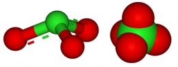 Balls/stick structure & Space-filling model of the perchlorate ion