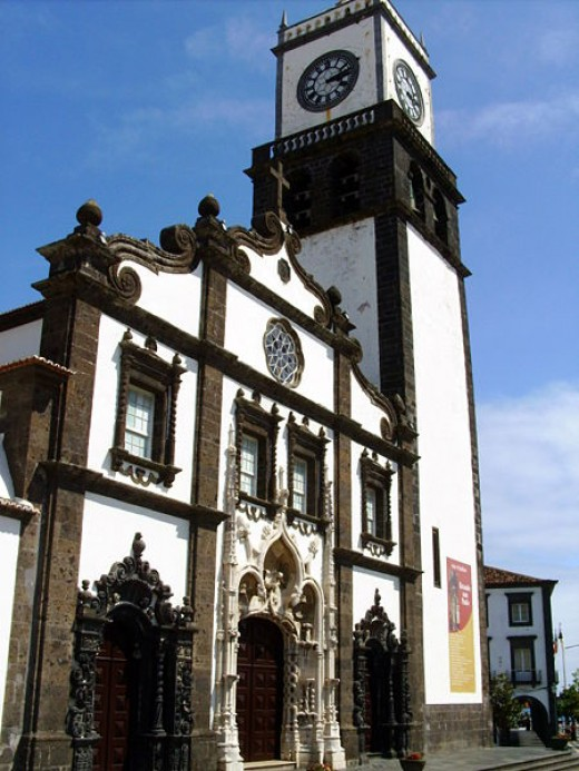 The Church of St. Sebastian in the city of Ponta Delgada on the island of Sao Miguel in the Azores