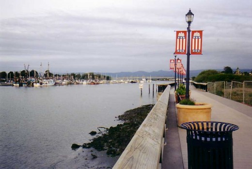 View of Humboldt Bay and Woodley Island Marina from the Boardwalk near F Street in Eureka, Ca