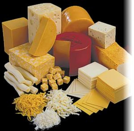 Cheese in different shapes