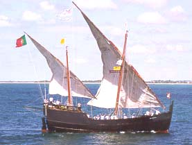 A reproduction of a caravel, a typical Portuguese seafaring boot from the Middle Ages.