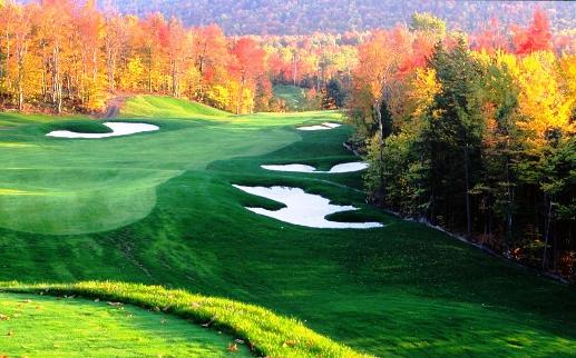 A typical course with fairway, traps-hazards, and green.