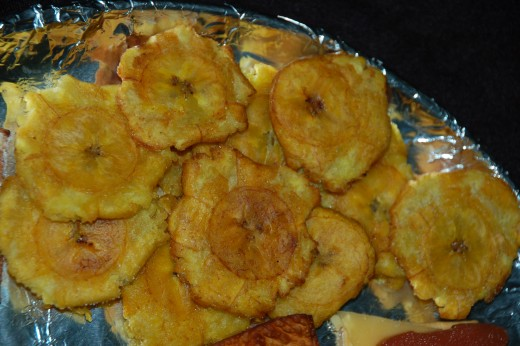 Fried green plantains, at 49c a plantain and 12 tostones per, they are very economical!