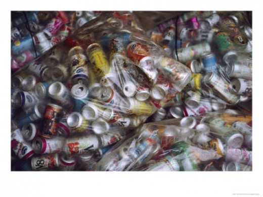 In addition to plastic and glass, there are aluminum pop and beer tins that many people collect for a refund.