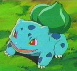 A screenshot of Bulbasaur from the tv show.