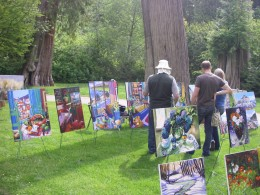 Artists display their works of art in the park