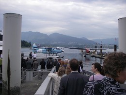 Boarding our dinner boat in view of some  float planes