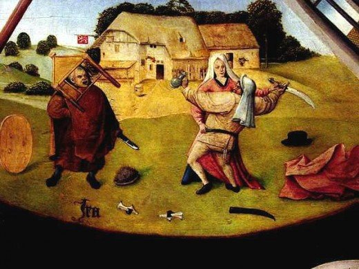 Hieronymus Bosch depicts the sin of anger in this panel painted in the Medieval period.