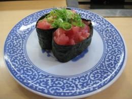 delicious negi toro sushi from my local sushi restaurant, a block away.