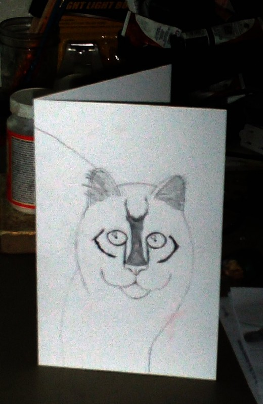 Here I sketched a picture of my childhood kitten Max on a sheet of cardstock that was folded in half.