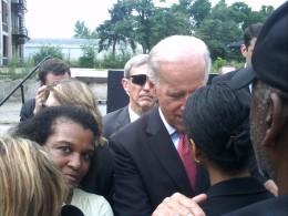 "My son was shooting video in the crowd; and the kind lady I handed my camera to couldn't figure out how to snap the picture. Joe Biden, a true gentleman, had just finished delivering his ""Recovery Act Update."" He stood behind me for a minute or so, w"