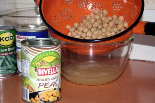The Chickpeas are drained and added to the Baked Beans