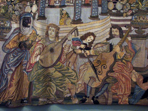 A portion of a magnificient tapestry from the Musical Instruments Gallery.