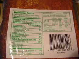 Rye bread nutritional information
