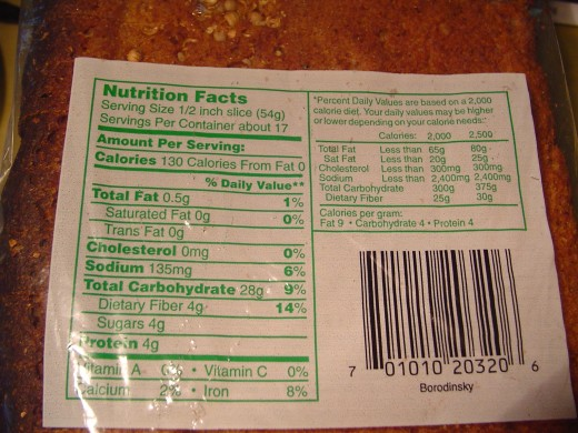 Rye bread nutritional information