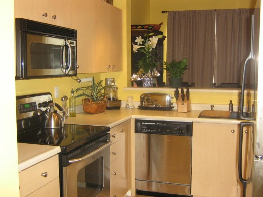 Kitchen with all stainless appliances