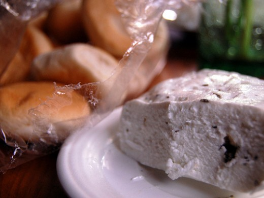Cottage Cheese with Bread (Kesong Puti with Pandesal) (Photo courtesy by ~MVI~ from Flickr.com)