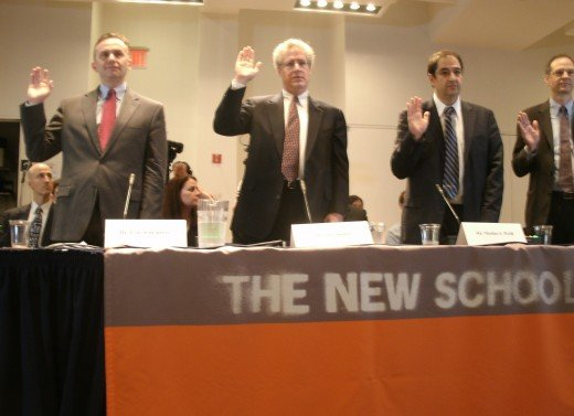 The four witnesses of the first panel sworn in.