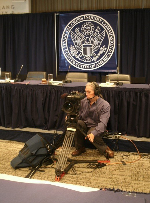 Me, ready to cover the witnesses (for C-SPAN). Talk about a front row seat! (And yes my rear end got sore during my several hours of camera operation sitting there.)