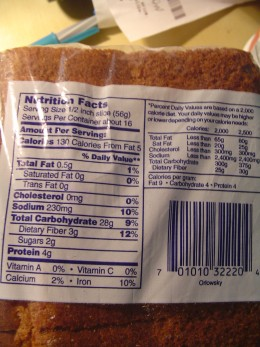David's Bakery Orlowsky Rye Bread nutritional facts