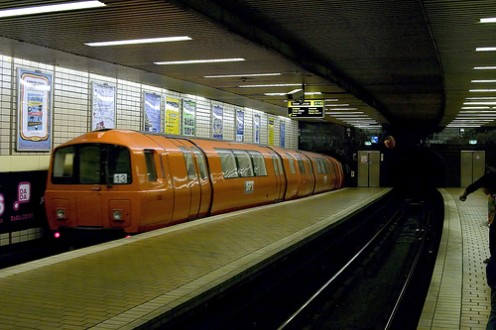 The bustling Glasgow subway
