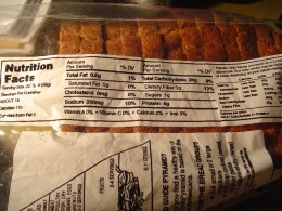 Nutritional facts for Nicholas II bread