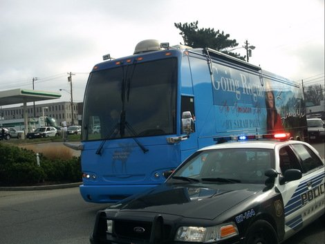 """The Palin """"Going Rogue"""" tour bus arrives at Rookwood Plaza."""