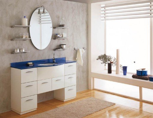 Ultra Modern Bathroom Cabinets in white with royal blue countertops