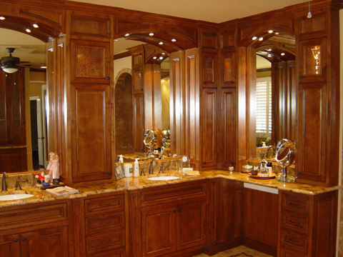 classic raised wood cherry bathroom cabinets