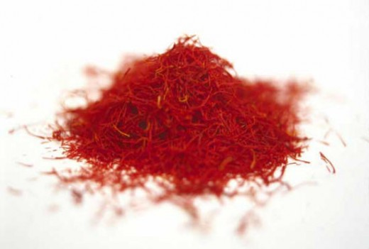 Saffron, the yellow-orange stigmas from a small purple saffron crocus (Crocus sativus), is the world's most expensive spice. That's because each flower provides only three red stigmas, and it takes approximately 14,000 of these tiny threads for each