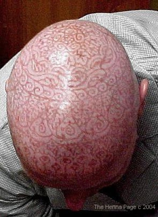 Henna Art on a Bald Head