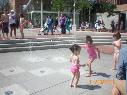Fun at the interactive water-fountain